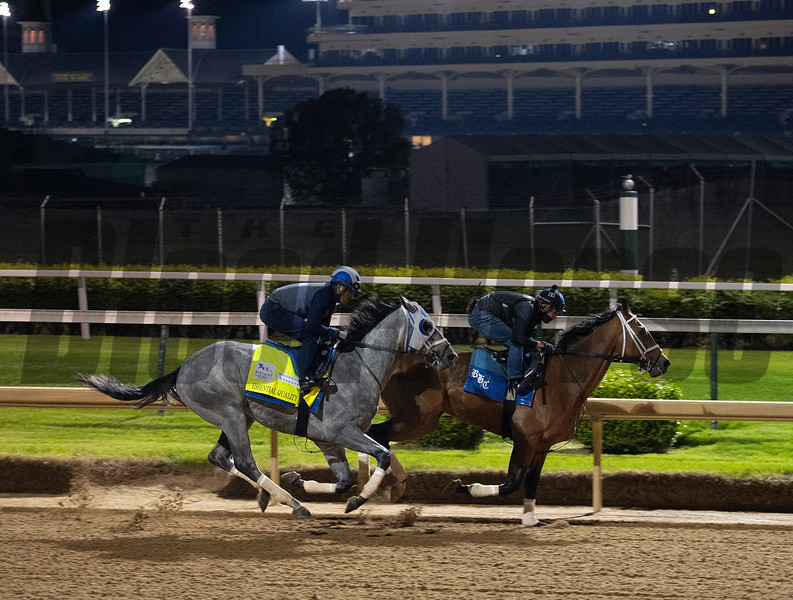Essential Quality, outside, working in company.<br /> Kentucky Derby and Oaks horses, people and scenes at Churchill Downs in Louisville, Ky., on April 24, 2021.