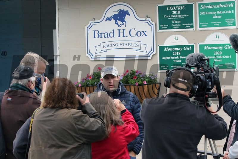 Brad Cox talks to the media regarding Caddo Rivers at Churchill Downs on April 25, 2021. Photo By: Chad B. Harmon