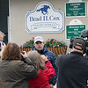 Brad Cox talks to the media regarding Caddo Rivers at Churchill Downs on April 25, 2021. Photo By: Chad B. Harmon