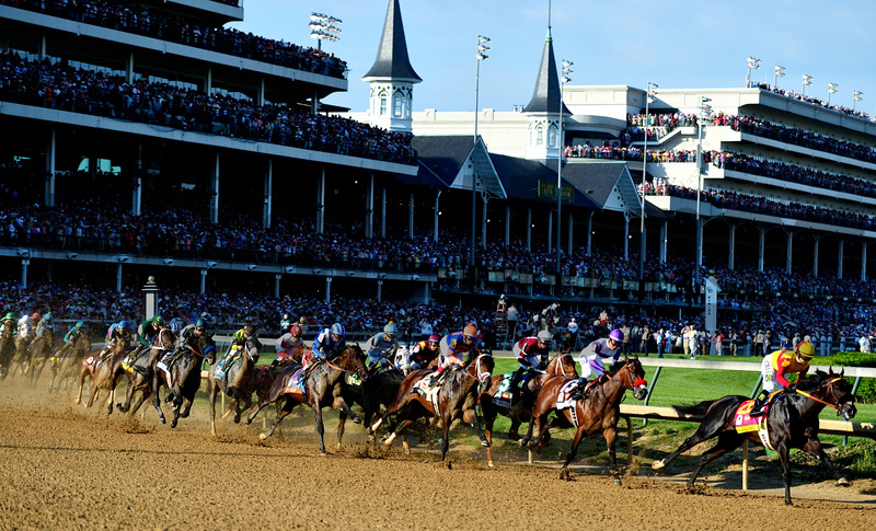 The first turn of the 142 running of the Kentucky Derby