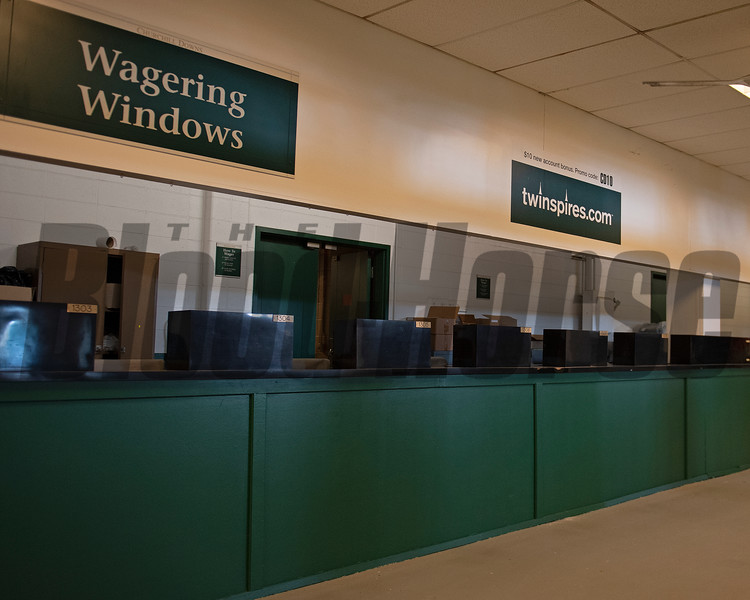 Empty betting windows. Scenes at Churchill Downs, Louisville, KY on September 5, 2020.