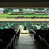 Wide view of race from empty stands. Scene on Oaks day at Churchill Downs, Louisville, KY on September 4, 2020. Photo: Rick Samuels