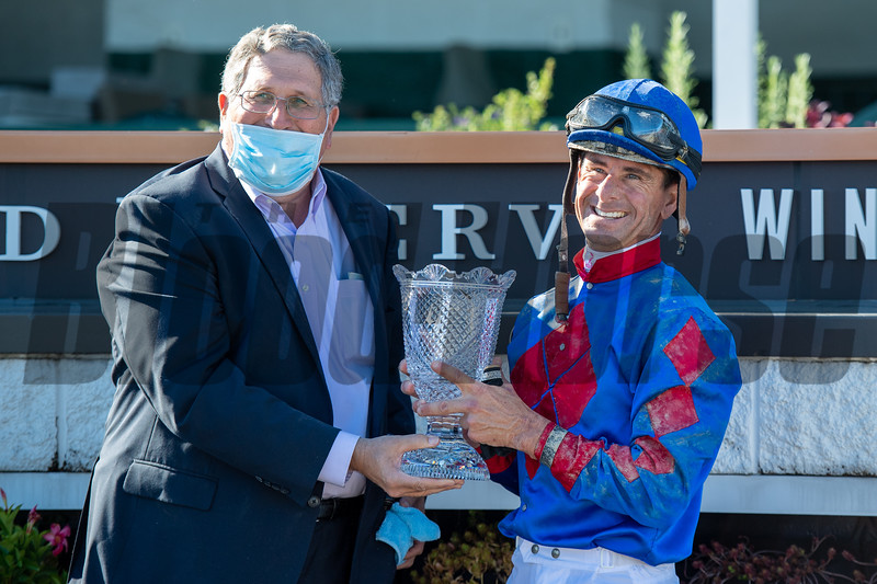 Neil Pessin celebrates with Corey Lanerie after winning the Derby City Distaff (G1) at Churchill Downs, Louisville, KY on September 5, 2020.