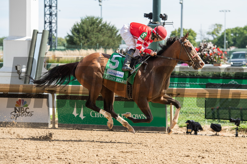 Sconsin, with James Graham up, wins the Eight Belles Stakes (G2) at Churchill Downs, Louisville, KY on September 4, 2020. Photo: Anne M. Eberhardt