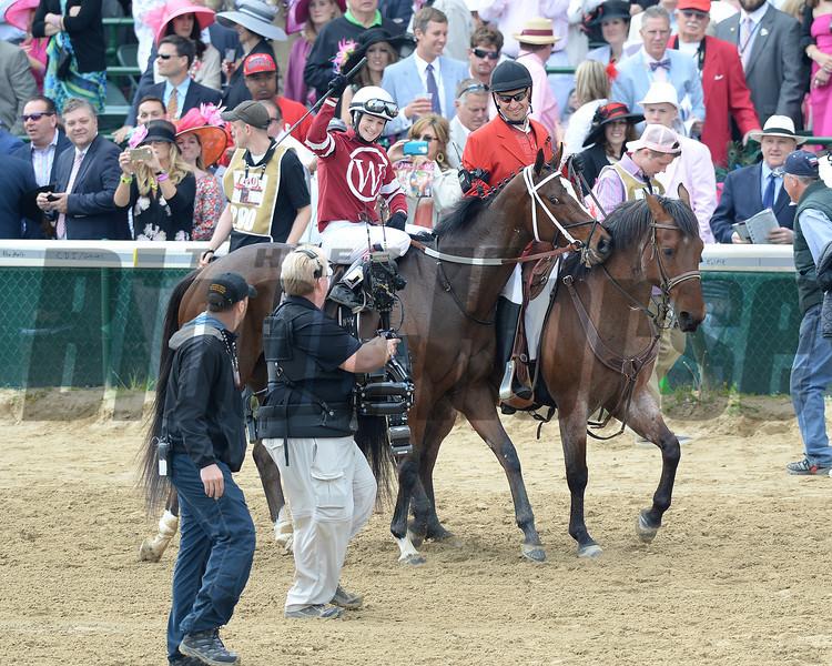 Untapable, Rosie Napravnik up, wins the KY Oaks, Churchill Downs, Louisville, KY 5/3/14, photo by Mathea Kelley;