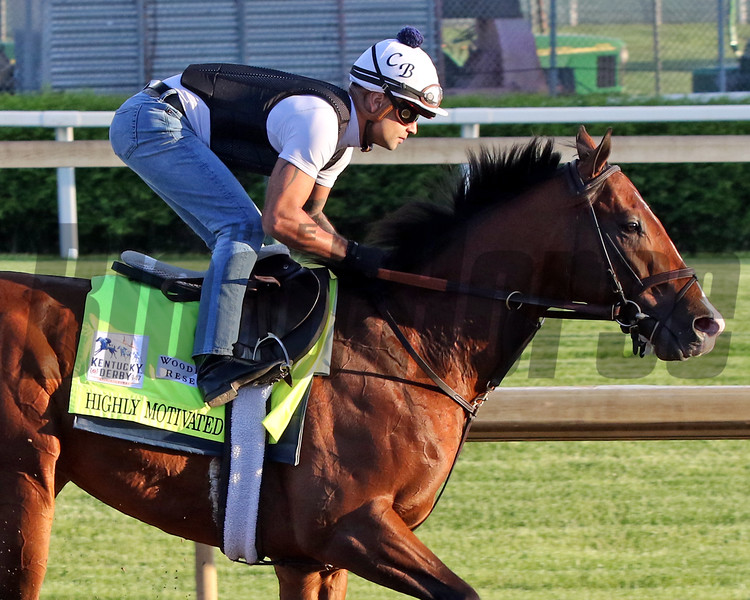 Highly Motivated on the track at Churchill Downs on April 27, 2021. Photo By: Chad B. Harmon
