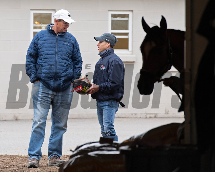 (L-R): Elliott Walden talking with Irad Ortiz Jr., outside the Todd Pletcher barn.<br /> Kentucky Derby and Oaks horses, people and scenes at Churchill Downs in Louisville, Ky., on April 23, 2021.
