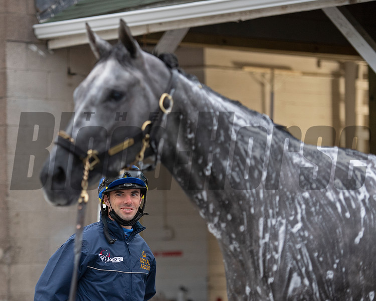 Florent Geroux looking at Travel Column.<br /> Kentucky Derby and Oaks horses, people and scenes at Churchill Downs in Louisville, Ky., on April 24, 2021.