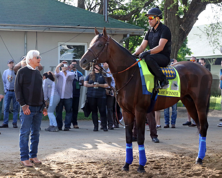 Game Winner waits to head to the track as Bob Baffert looks on at Churchill Downs on May 2, 2019. Photo By: Chad B. Harmon