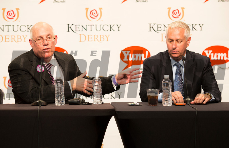 Press Conference with Ed Stanco and his Granddaughters, Todd Pletcher and Mike Smith after Princess of Sylmar and jockey Mike Smith roars past Beholder in the lane to win the Longines Kentucky Oaks (gr. I) May 3 at Churchill Downs. At 38-1, she's the second highest-priced winner in Oaks history.<br /> Photo by: Kevin Thompson