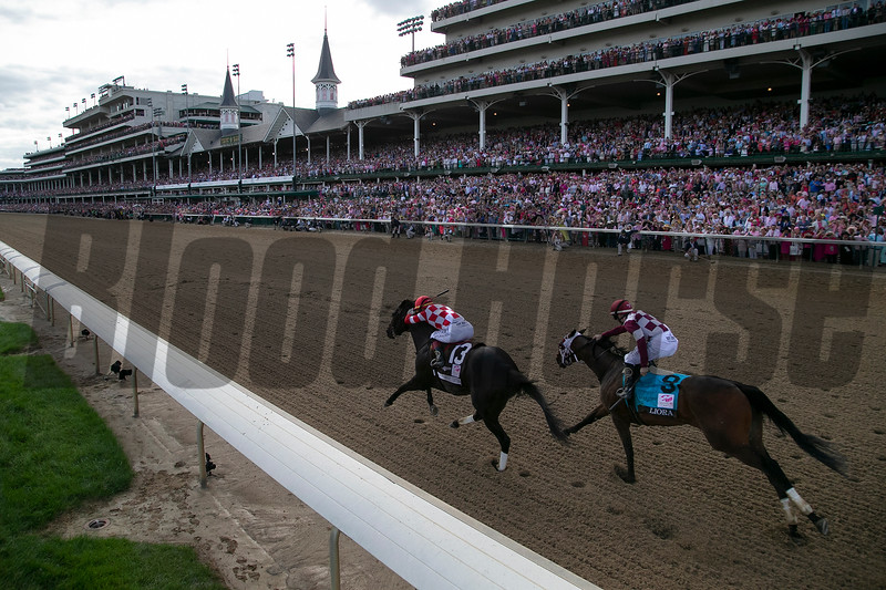 Serengeti Empress  and Liora heading down the stretch in the Kentucky Oaks at Churchill Downs on May 3rd, 2019.