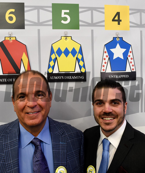 Anthony Bonomo Sr. with son Anthony Jr. at the Post position draw at Churchill Downs May 3, 2017 in Louisville, KY.  Photo by Skip Dickstein