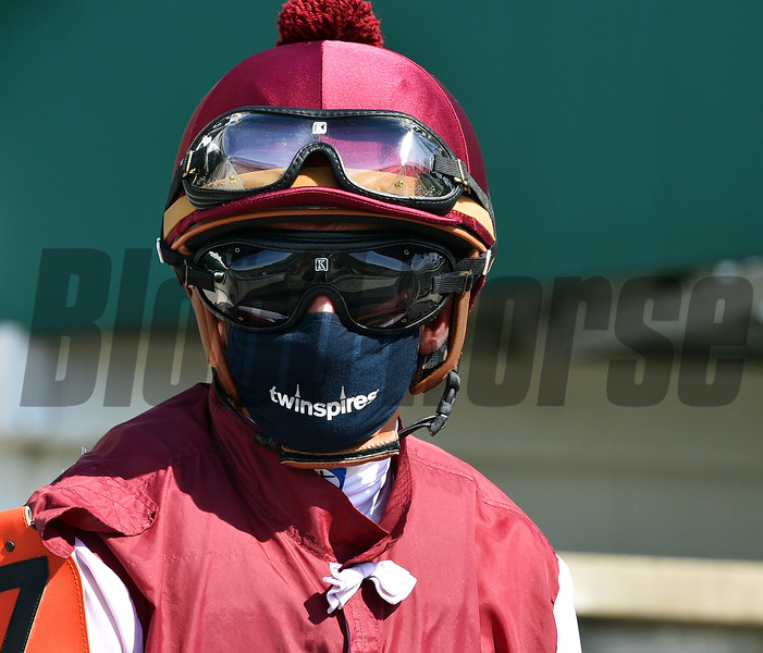 Mitchell Murrill close up. Scene on Oaks day at Churchill Downs, Louisville, KY on September 4, 2020. Photo: Rick Samuels
