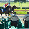 Sheriffs watch horses warming up for race. Scenes at Churchill Downs, Louisville, KY on September 5, 2020.