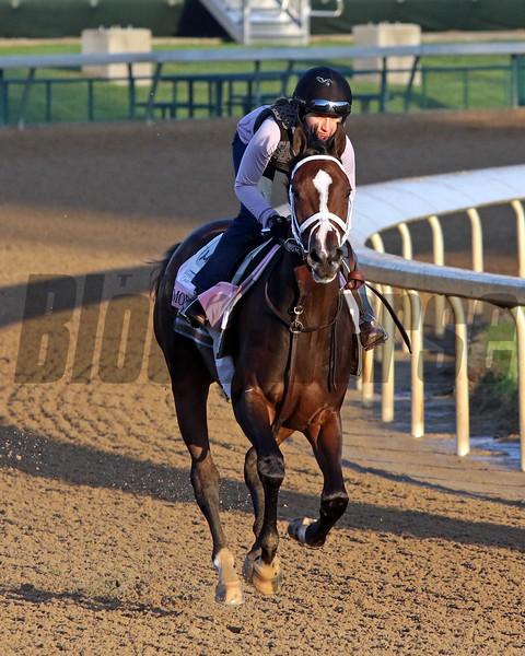 Moraz on the track at Churchill Downs on April 26, 2021. Photo By: Chad B. Harmon