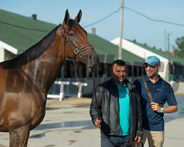 (L-R): Shedaresthedevil with Jorge Abrego and Blake Cox Sunday, September 6, 2020 at Churchill Downs. Photo: Anne M. Eberhardt