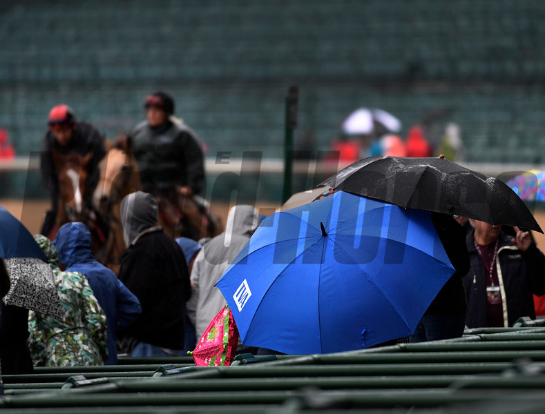 Rain greeted the Kentucky Derby horse watchers Wednesday morning May 4, 2017 at Churchill Downs in Louisville, Kentucky.  Photo by Skip Dickstein