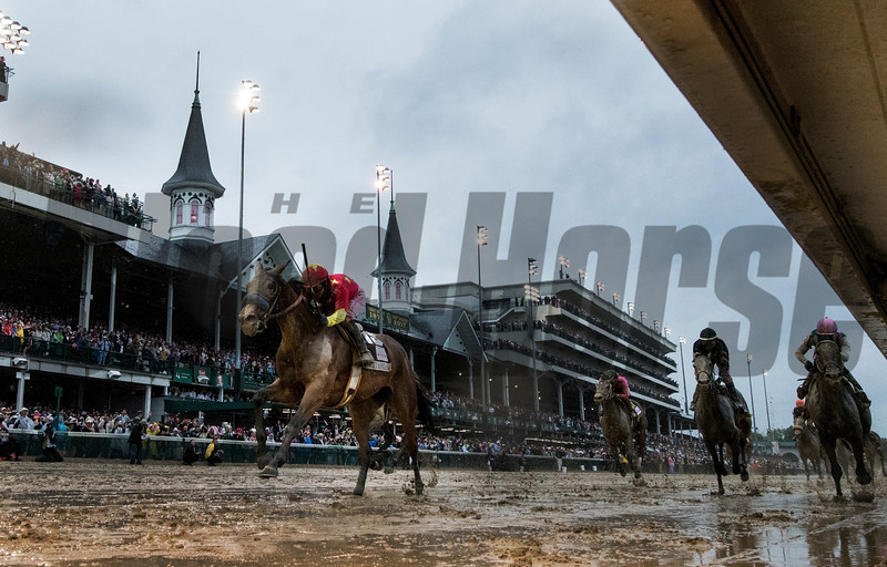 #13 Abel Tasman breaks the gate in the 143rd running of the Kentucky Oaks May 5, 2017 at Churchill Downs in Louisville, Kentucky.  Photo by Skip Dickstein