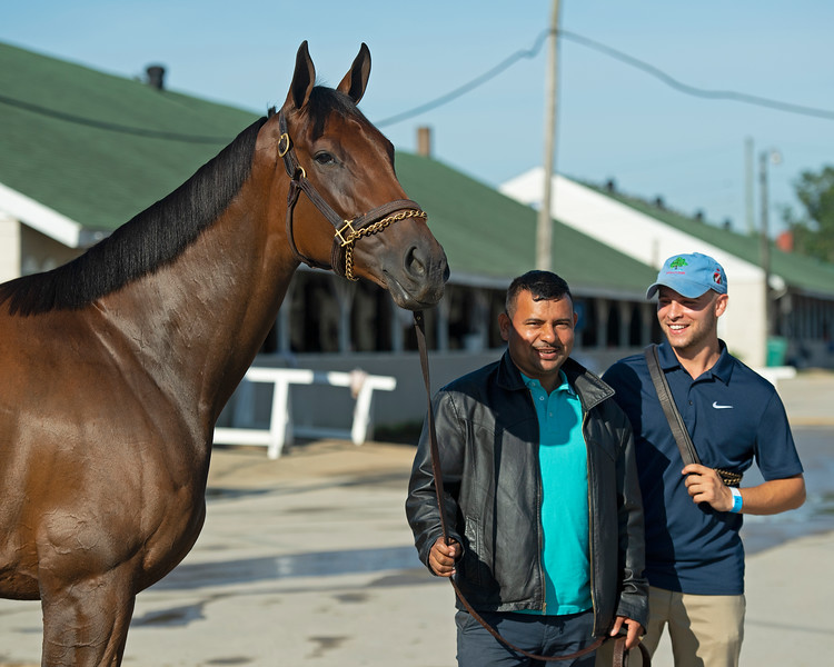 (L-R): Shedaresthedevil with Jorge Abrego and Blake Cox<br /> The morning after Authentic wins the Kentucky Derby (G1) at Churchill Downs, Louisville, KY on September 5, 2020.