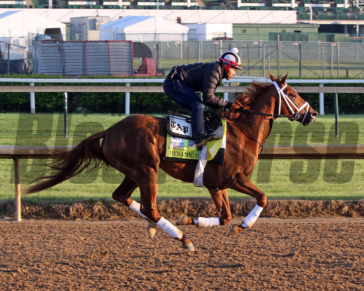 Dynamic One on the track at Churchill Downs on April 26, 2021. Photo By: Chad B. Harmon
