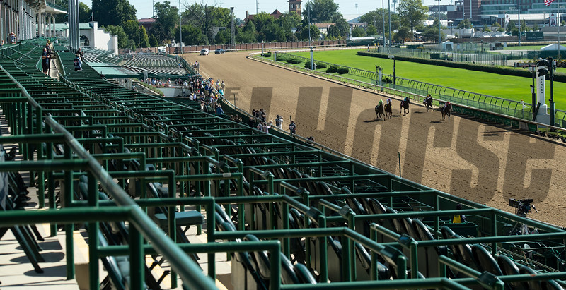 Empty seats as horses race. Scenes at Churchill Downs, Louisville, KY on September 5, 2020.