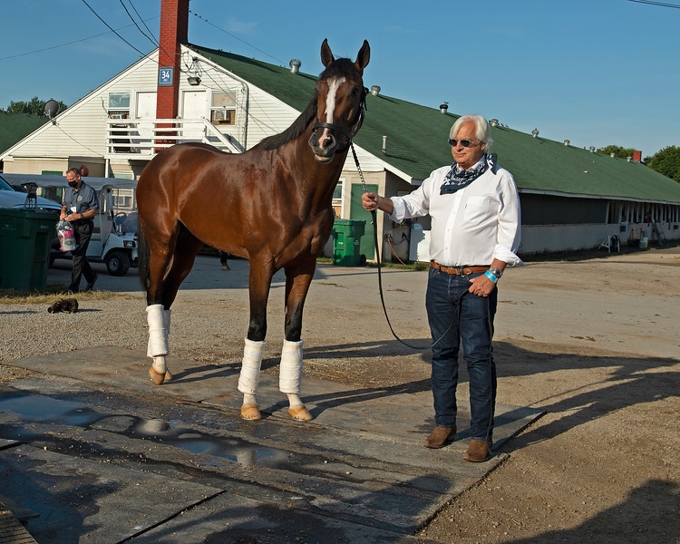 Bob Baffert talking with Authentic outside barn.<br /> The morning after Authentic wins the Kentucky Derby (G1) at Churchill Downs, Louisville, KY on September 5, 2020.