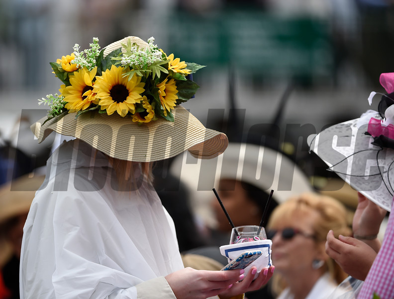 Hats and more hats even in inclement weather on Kentucky Derby Day May 6, 2017 at Churchill Downs in Louisville, Kentucky.  Photo by Skip Dickstein
