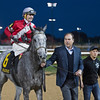 Caption: Clay Whitham walking in Linda to winner circle.<br /> Linda with Brian Hernandez Jr. wins the Mrs. Revere (gr. II) for Whitham Thoroughbreds and Ian Wilkes on Nov. 25, 2016, at Churchill Downs.