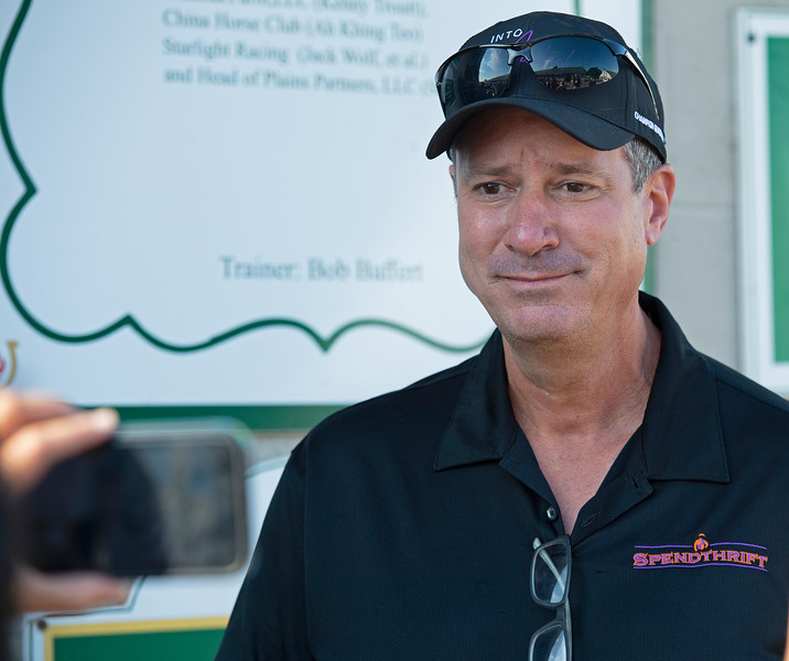 Mark Toothaker with Spendthrift outside Baffert barn talking about the Spendthrift team and getting emotional. <br /> The morning after Authentic wins the Kentucky Derby (G1) at Churchill Downs, Louisville, KY on September 5, 2020.