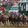 Traffic jam at the start of the 2013 Kentucky Oaks.<br /> ©Photo by Courtney V. Bearse