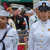 Navy officers deliver the Garland of Roses to Churchill Downs.