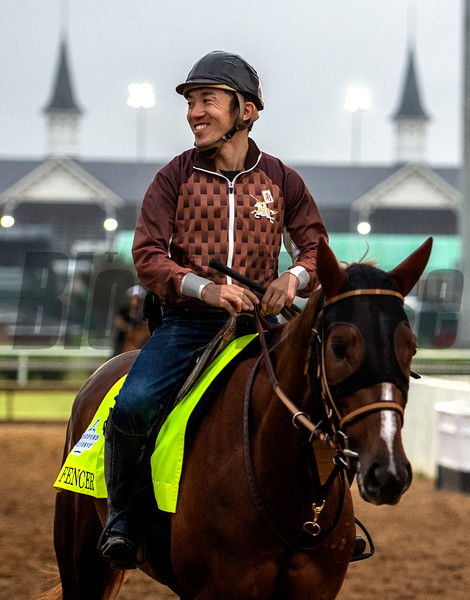 Master Fencer, right,  returns from a gallop on the main track at Churchill Downs Thursday May 2, 2019 in Louisville, KY.<br /> Photo by Skip Dickstein