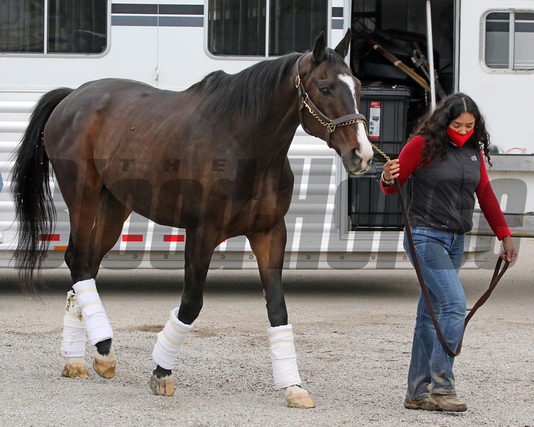 Lava Man arrives at Churchill Downs on April 25, 2021. Photo By: Chad B. Harmon