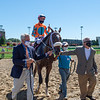Jim Shircliff (left) and Harvey Diamond (right) with Fancy Liquor and Florent Geroux after winning the American Turf (G2) at Churchill Downs, Louisville, KY on September 5, 2020.