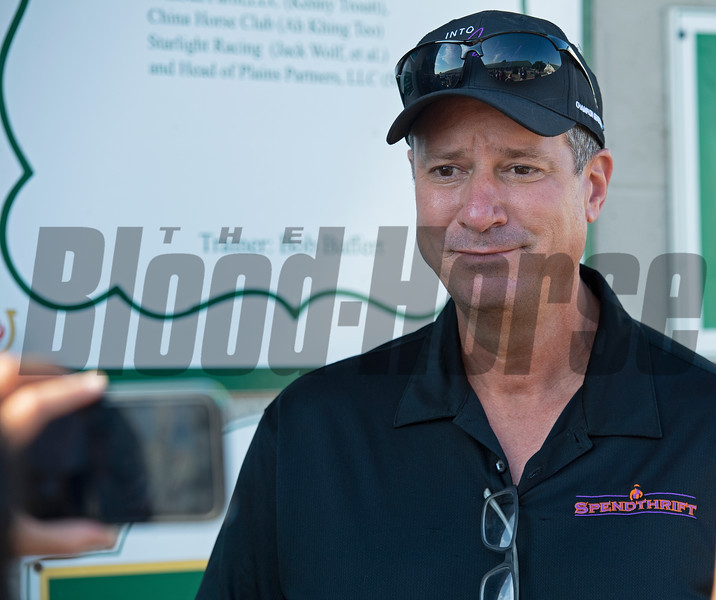Mark Toothaker with Spendthrift outside Baffert barn talking about the Spendthrift team and getting emotional the morning after Authentic wins the Kentucky Derby (G1) at Churchill Downs, Louisville, KY on September 5, 2020. Photo: Anne M. Eberhardt