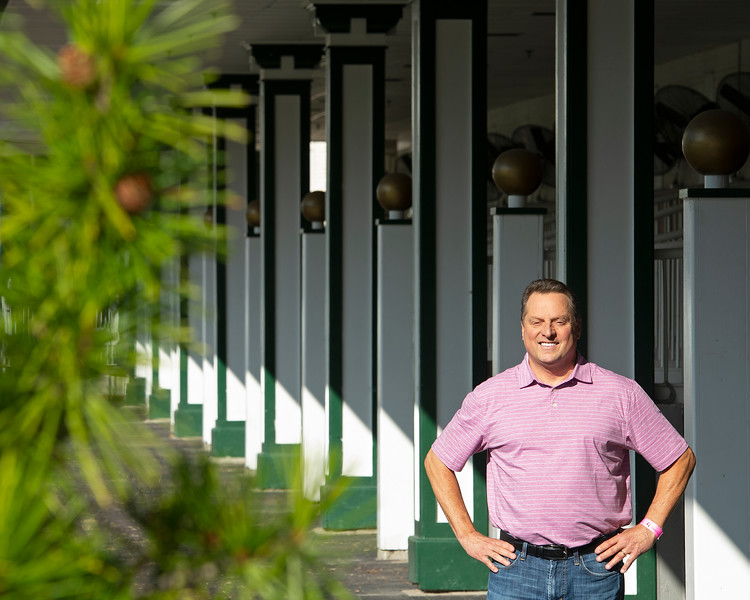 Caption: in paddock<br /> Tom Amoss at Churchill Downs in Louisville, Ky. on July 12, 2020 Churchill Downs in Louisville, KY.
