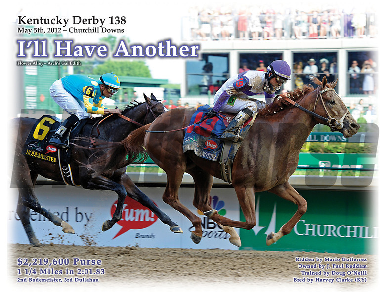 Special Edition Print - I'll Have Another, winner of Kentucky Derby 138 at Churchill Downs on May 5, 2012.<br /> <br /> Original Photo by Anne M. Eberhardt.