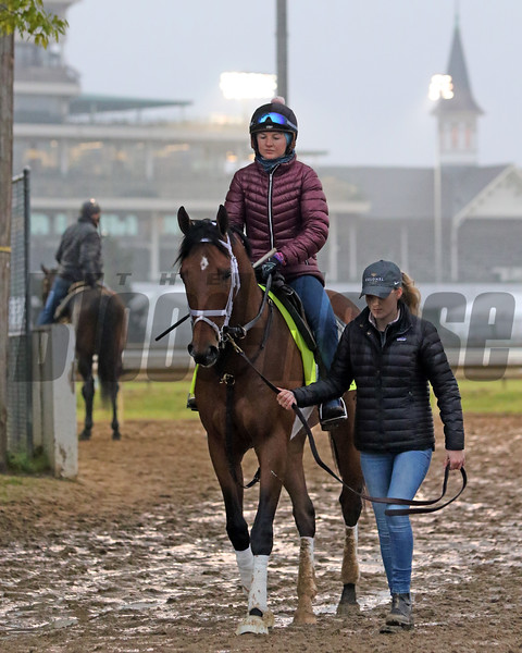 Sainthood coming off the track at Churchill Downs on April 25, 2021. Photo By: Chad B. Harmon