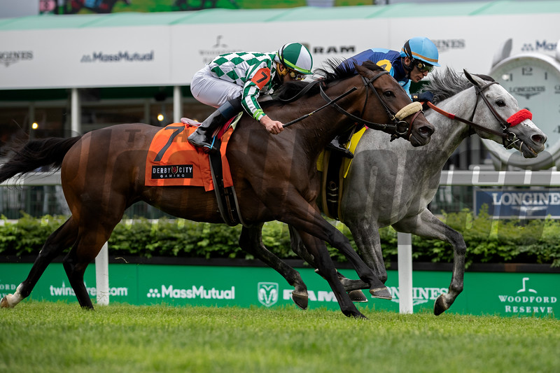 A Little Bit Me and John Velazquez win the Unbridled Sidney Stakes at Churchill Downs on May 2, 2019