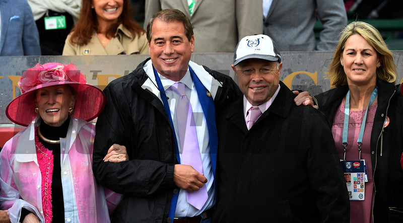 Bird Song's owner Mary Lou Whitney, left with her husband John Hendrickson, trainer, Ian Wilkes with his wife Tracy Wilkes after winning the 14th running of The Alysheba May 5, 2017 at Churchill Downs in Louisville, KY.  Photo by Skip Dickstein