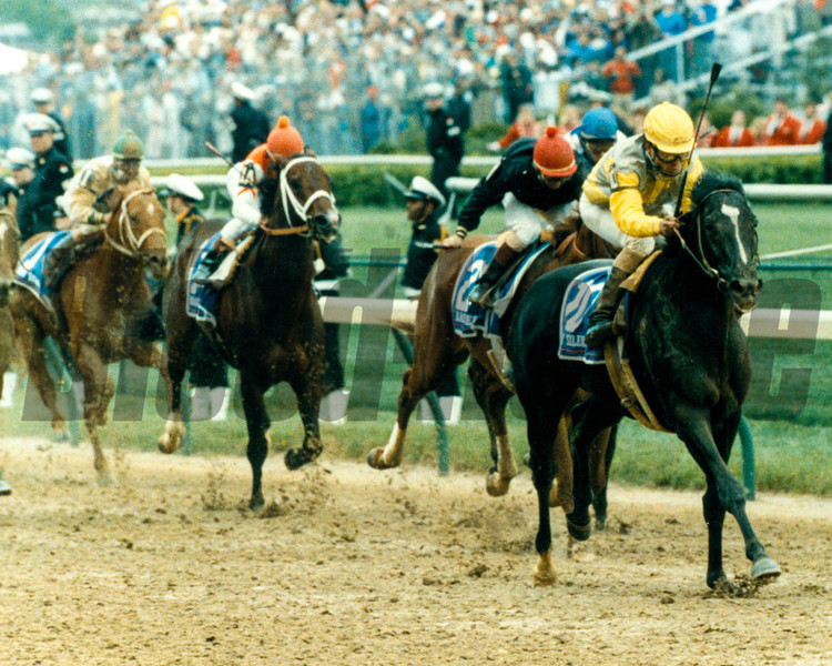 Sunday Silence prevails over Easy Goer to win the 1989 Kentucky Derby at Churchill Downs.<br /> Photo by: Skip DIckstein