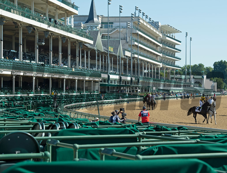Empty stands as horses warm up for a race. Scenes at Churchill Downs, Louisville, KY on September 5, 2020.