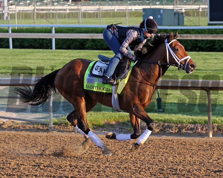 Sainthood on the track at Churchill Downs on April 27, 2021. Photo By: Chad B. Harmon