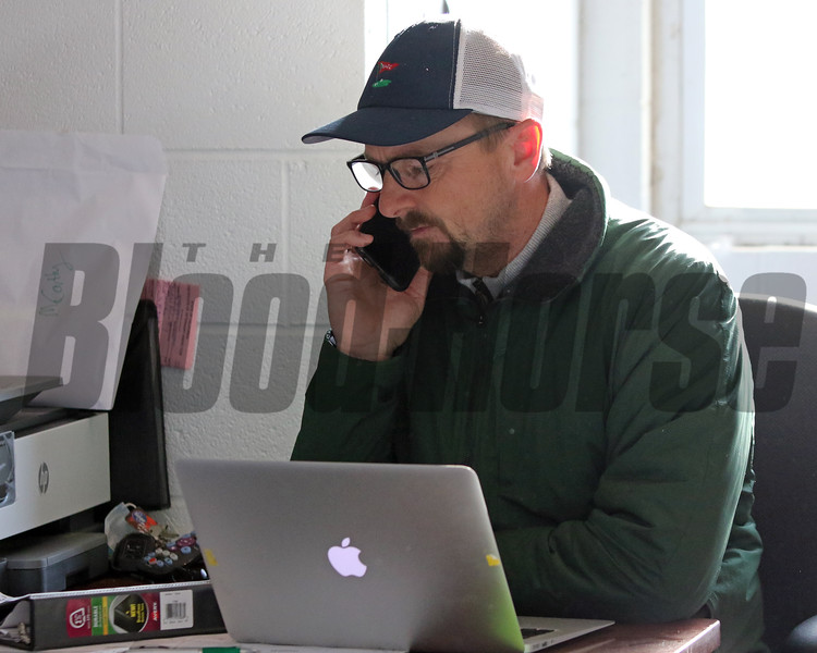 Michael McCarthy working in his office at Churchill Downs on April 26, 2021. Photo By: Chad B. Harmon