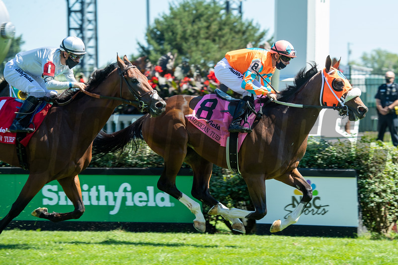 Fancy Liquor with Florent Geroux wins the American Turf (G2) at Churchill Downs, Louisville, KY on September 5, 2020.