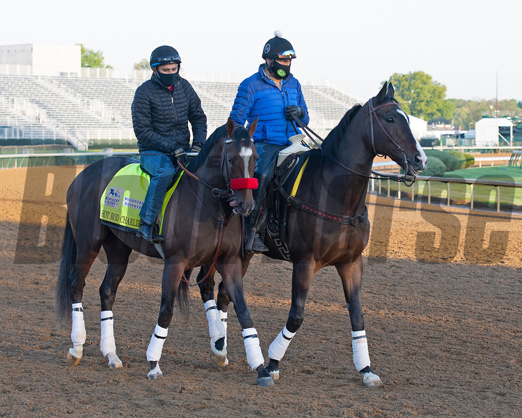 (L-R): Hot Rod Charlie and Lava Man<br /> Kentucky Derby and Oaks horses, people and scenes at Churchill Downs in Louisville, Ky., on April 26, 2021.