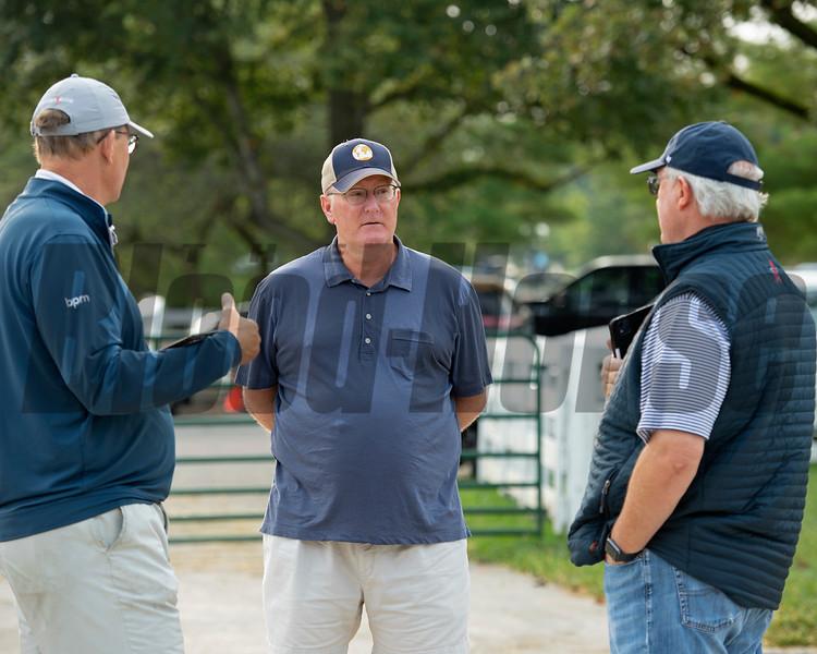 (l-R): Elliott Walden, John Moynihan, David Hanley<br /> Keeneland September sale yearlings in Lexington, KY on September 14, 2020.