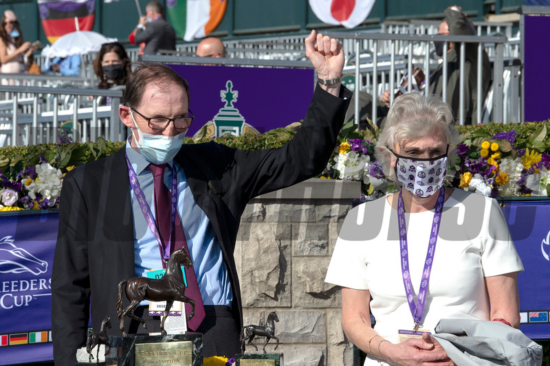 James R. Fanshawe and wife in the winner's circle for Audarya with Pierre Charles Boudot win the Breeders' Cup Filly and Mare Turf at Keeneland in Lexington, Ky. on Nov. 7, 2020.