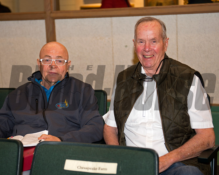 Buyer Charles Fipke with signer on right, R.J. Bennett<br /> Hip 526 filly by Speightstown from Nikkis Smartypants and Bedouin Bloodstock bought for 390,000 by John Moynihan<br /> Keeneland November Sales on Nov. 10, 2016, in Lexington, Ky.