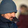Trainer Mike McCarthy all bundled up to ward off the cold at Keeneland Race Course Tuesday Nov. 3 2020 in Lexington, KY.  Photo by Skip Dickstein